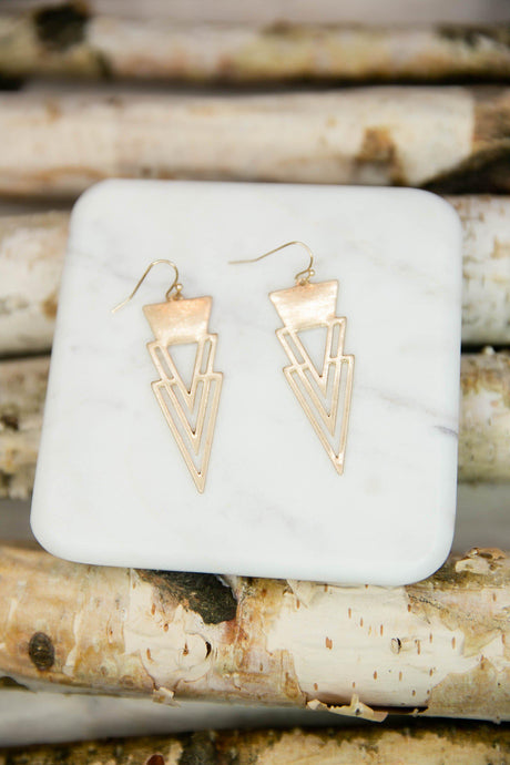 Modern Triangle Drop Earrings-Earrings-Hazel & Indigo