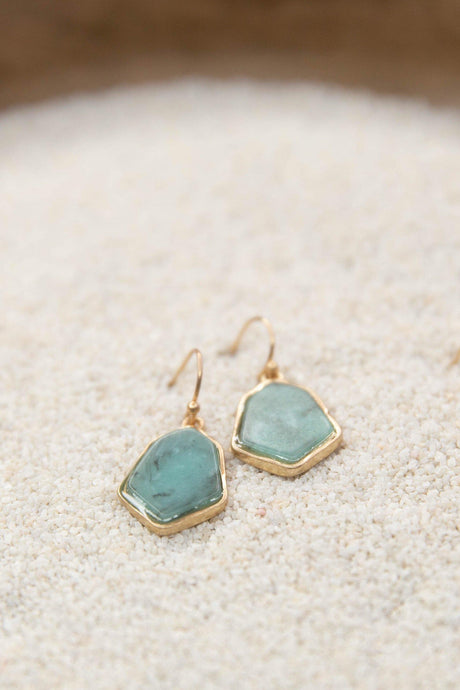 Amazonite Semi Precious Drop Earrings-Earrings-Hazel & Indigo