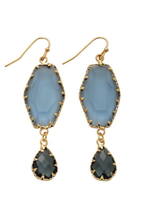 Crystal Teardrop Earrings-Earrings-Hazel & Indigo