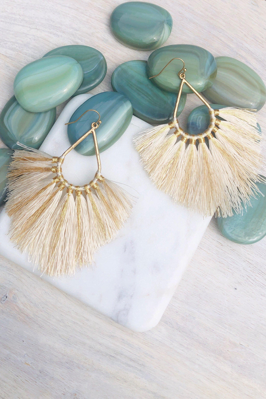 Lanai Fringe Tassel Statement Earrings Natural-Earrings-Hazel & Indigo