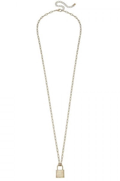 Gold Beach Chain Link Lock Necklace-Necklace-Hazel & Indigo
