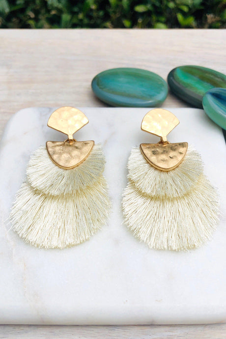 Kauai Fringe Tassel Earrings-Earrings-Hazel & Indigo