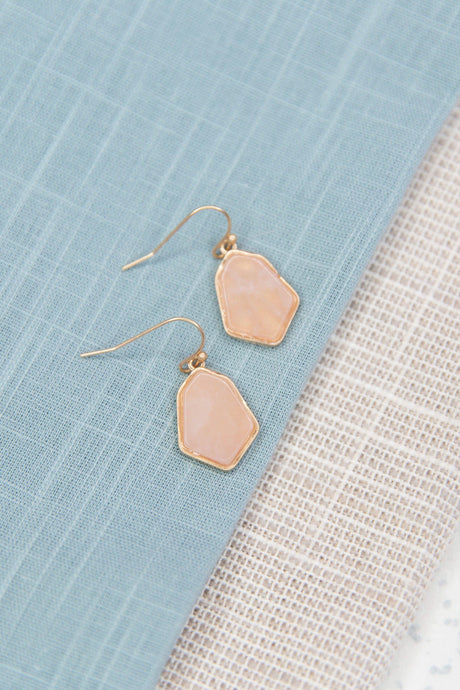 Rose Quartz Semi Precious Drop Earrings-Earrings-Hazel & Indigo