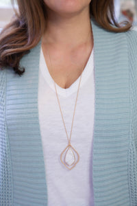 Howlite Stone & Arabesque Necklace-Necklace-Hazel & Indigo