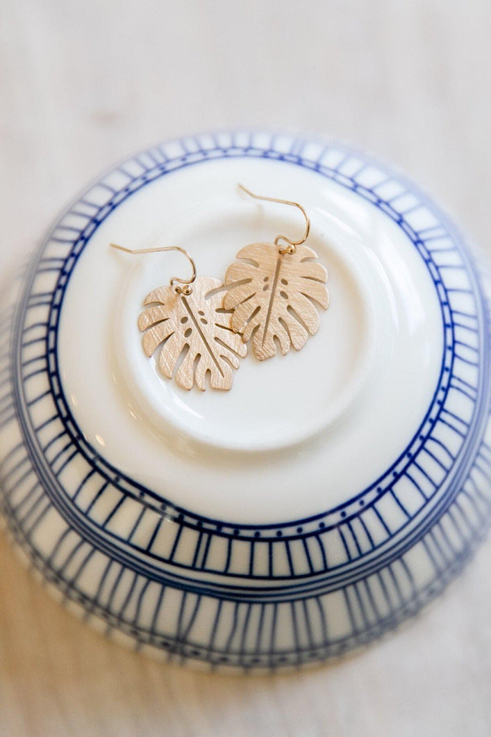 Delicate Brushed Leaf Gold Earrings-Earrings-Hazel & Indigo