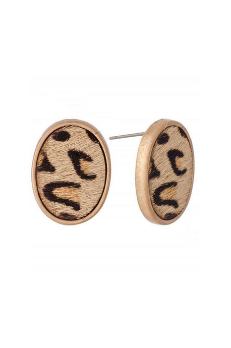 Leopard Print Oval Stud Earrings-Earrings-Hazel & Indigo