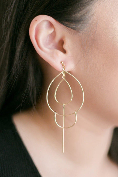 Teardrops w/ Linear Metal Bar Earrings-Earrings-Hazel & Indigo