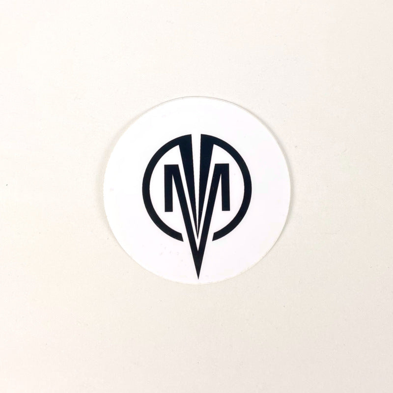 STICKER ROUND LARGE ICON LOGO WHITE/BLACK