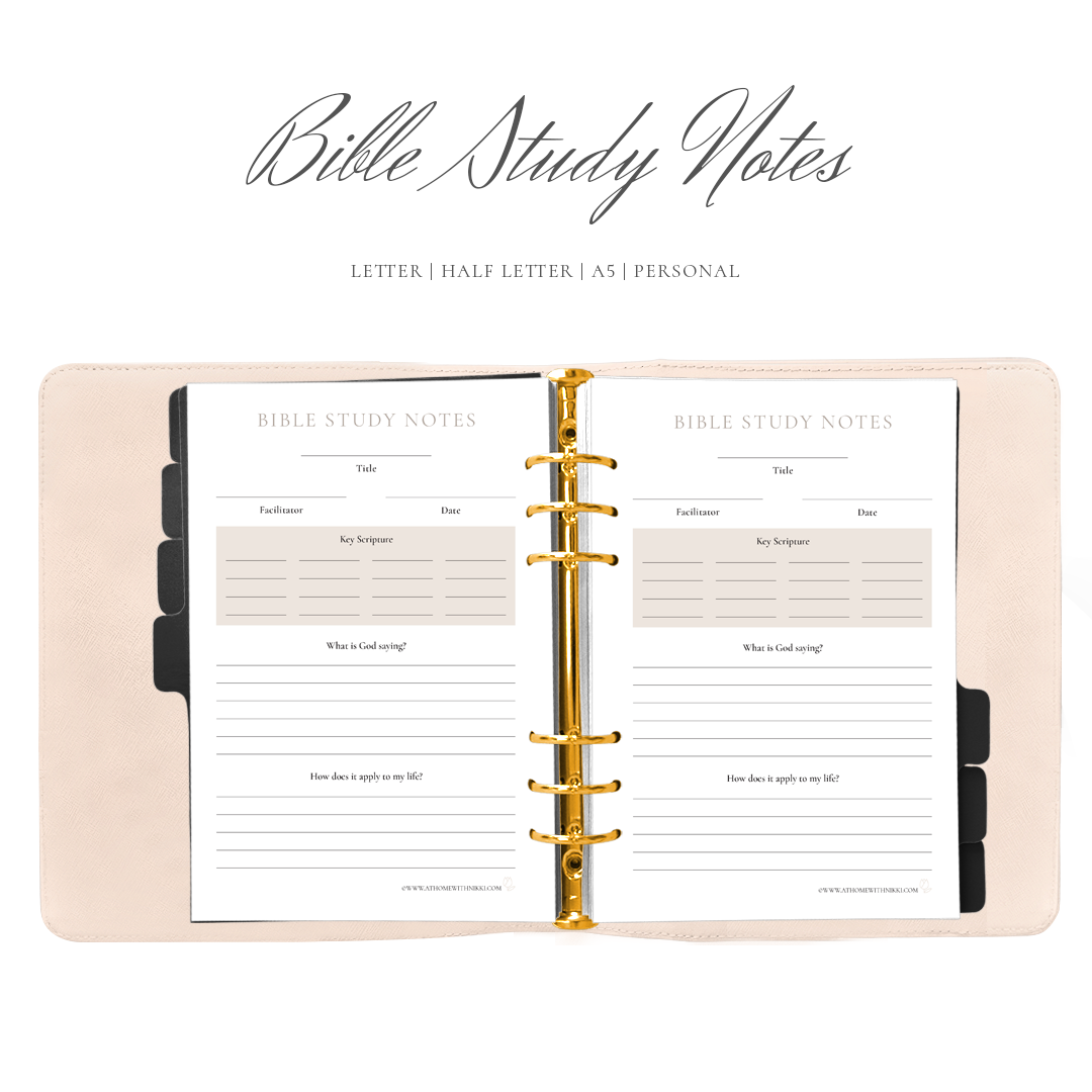 Bible Study Notes Planner Insert