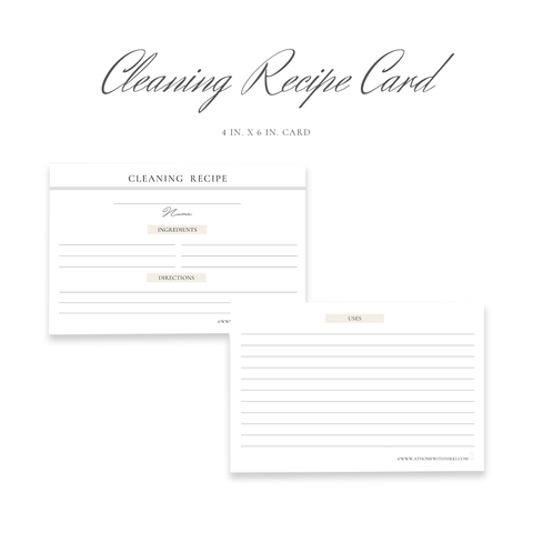 Cleaning Recipe Card