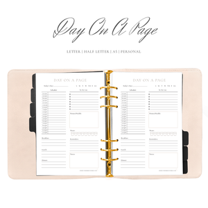 Day On A Page Planner Insert