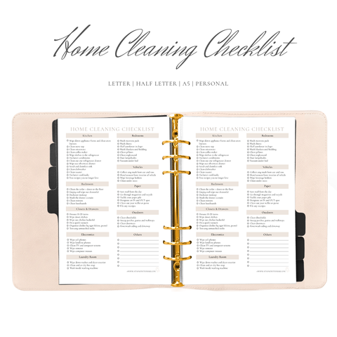 Home Cleaning Checklist Planner Insert
