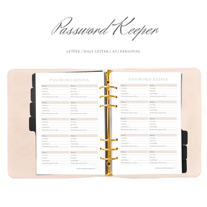 Password Keeper Planner Insert