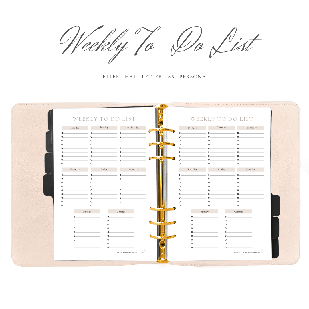 Weekly To Do List Planner Insert