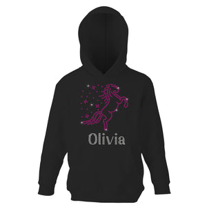 Personalised Girls Rearing Unicorn Hoodie - varsanystore