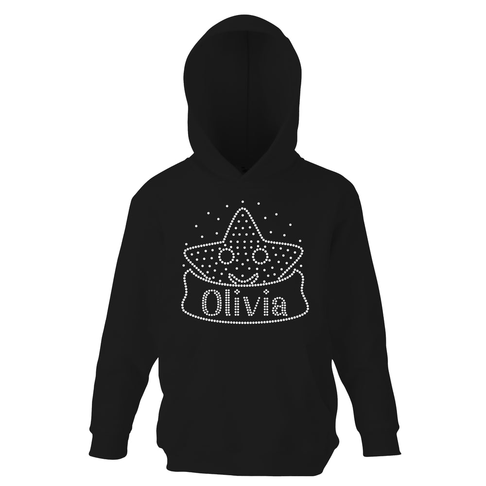 Personalised Girls Smiley Star Diamante Hoodie - varsanystore