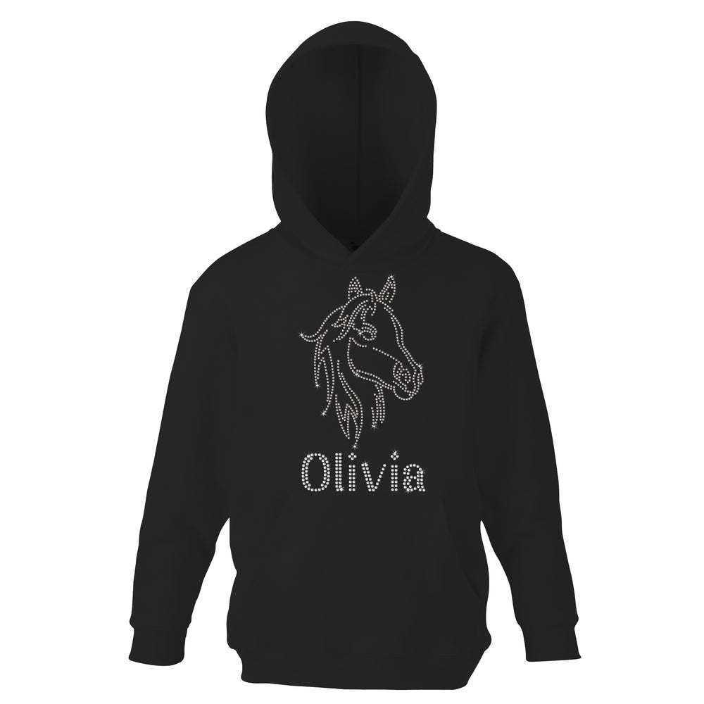 Personalised Horse Face Diamante Hoodie - varsanystore