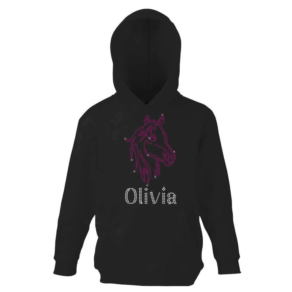 Personalised Girls Horse Face Hoodie - varsanystore