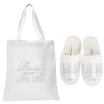 White Bride To Be Tote Bag and OT Slippers Spa Set - varsanystore