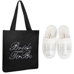 Varsany Black Bride To Be Crystal (OT) Open Toe Spa Slippers and Tote bags wedding bride gift hen party (2) - varsanystore