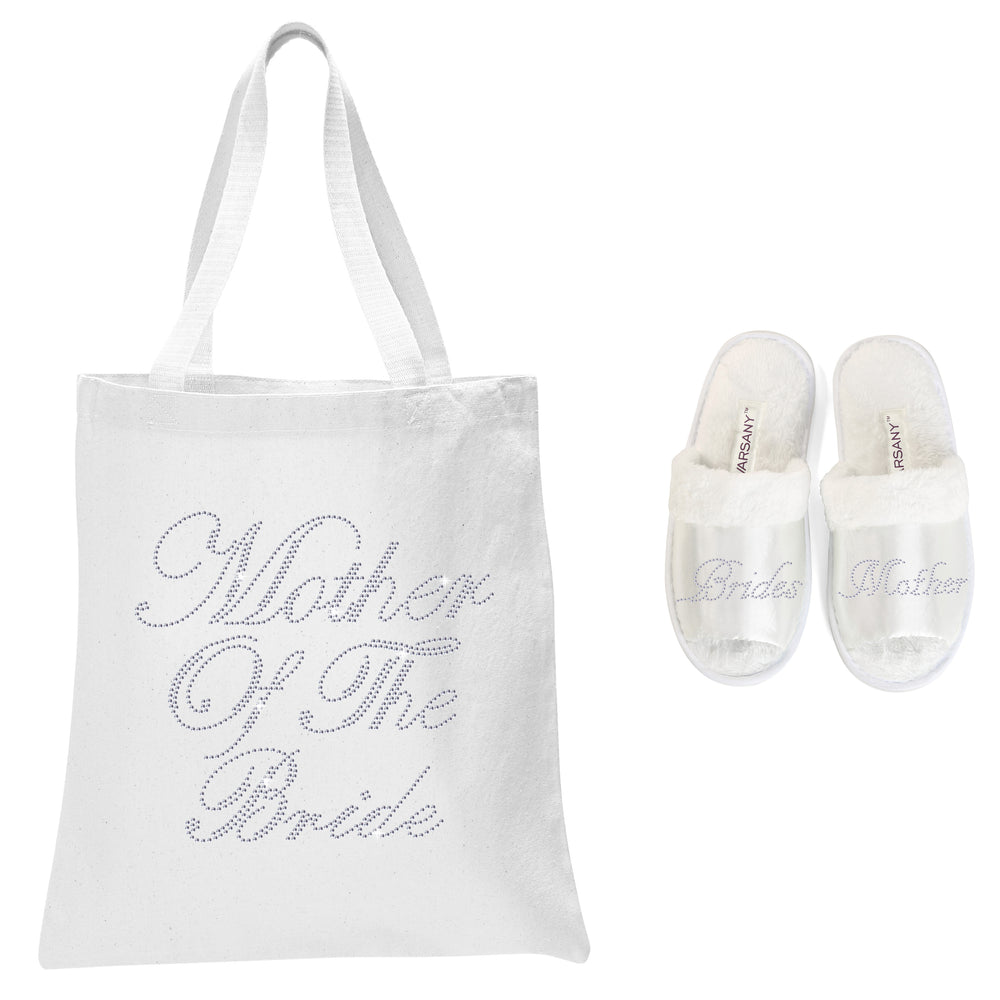 Varsany White Bride's Mother Crystal (NEW) Open Toe Spa Slippers and Tote bags wedding bride gift hen party (2) - varsanystore