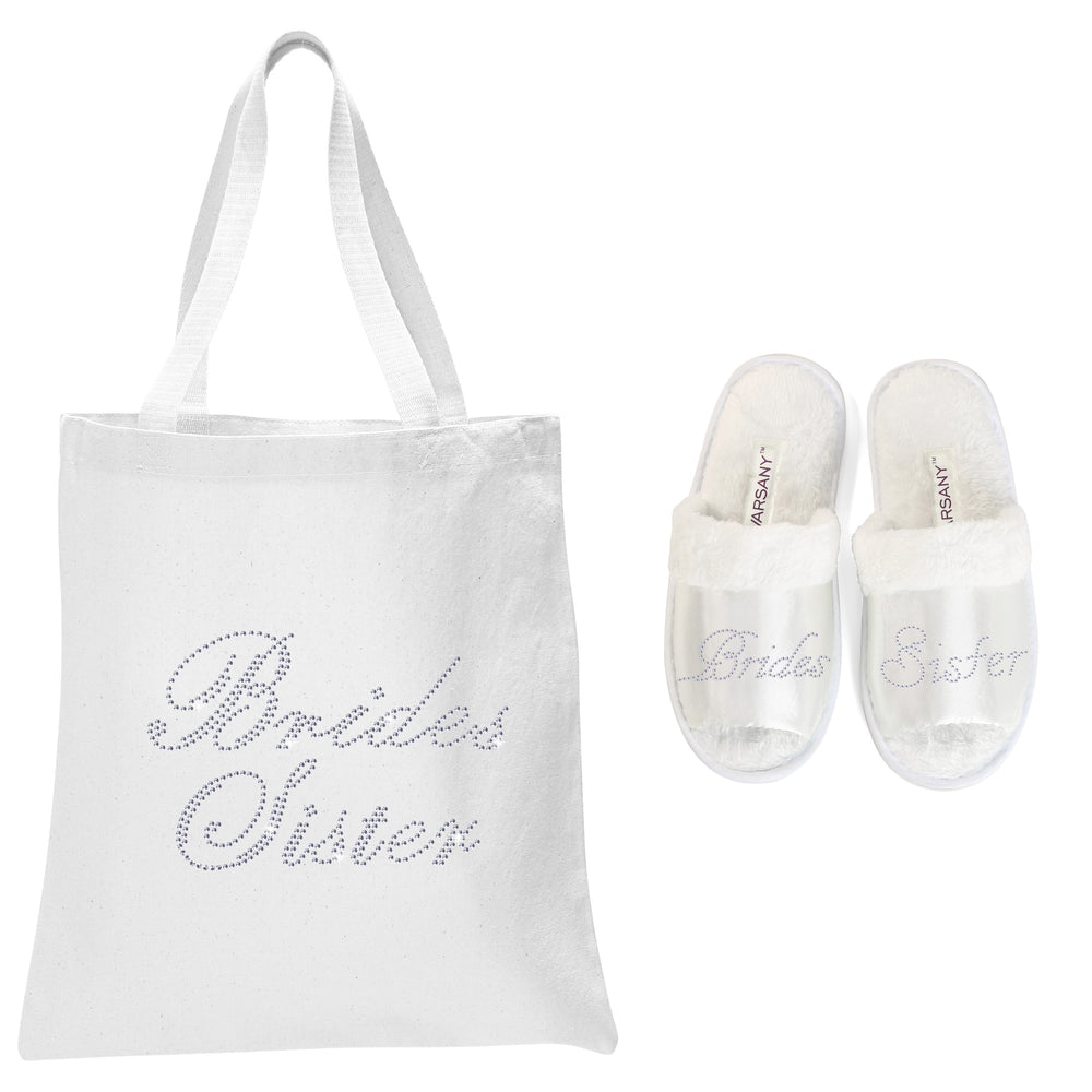 White Bride's Sister Tote Bag and OT Slippers Spa Set - varsanystore