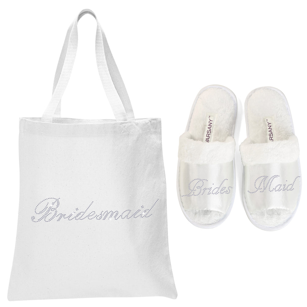 White Bridesmaid Tote Bag and OT Slippers Spa Set - varsanystore