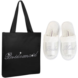 Black Bridesmaid Tote Bag and OT Slippers Spa Set - varsanystore