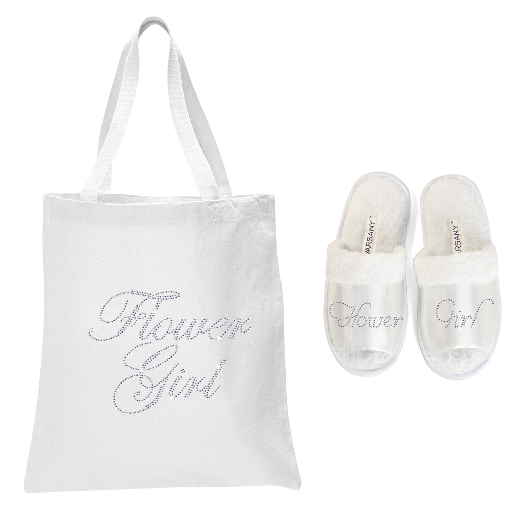 White Flower Girl Tote Bag and OT Slippers Spa Set - varsanystore