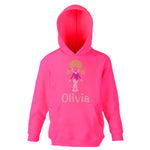 Personalised Girls Saluts Diamante Hoodie - varsanystore