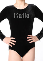 Personalised Girls Black Diamante Leotard - varsanystore