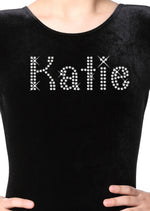 Black Personalised Gymnastic Leotard with Diamante's - varsanystore