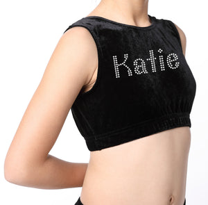 Personalised Girls Black Diamante Crop Top - varsanystore