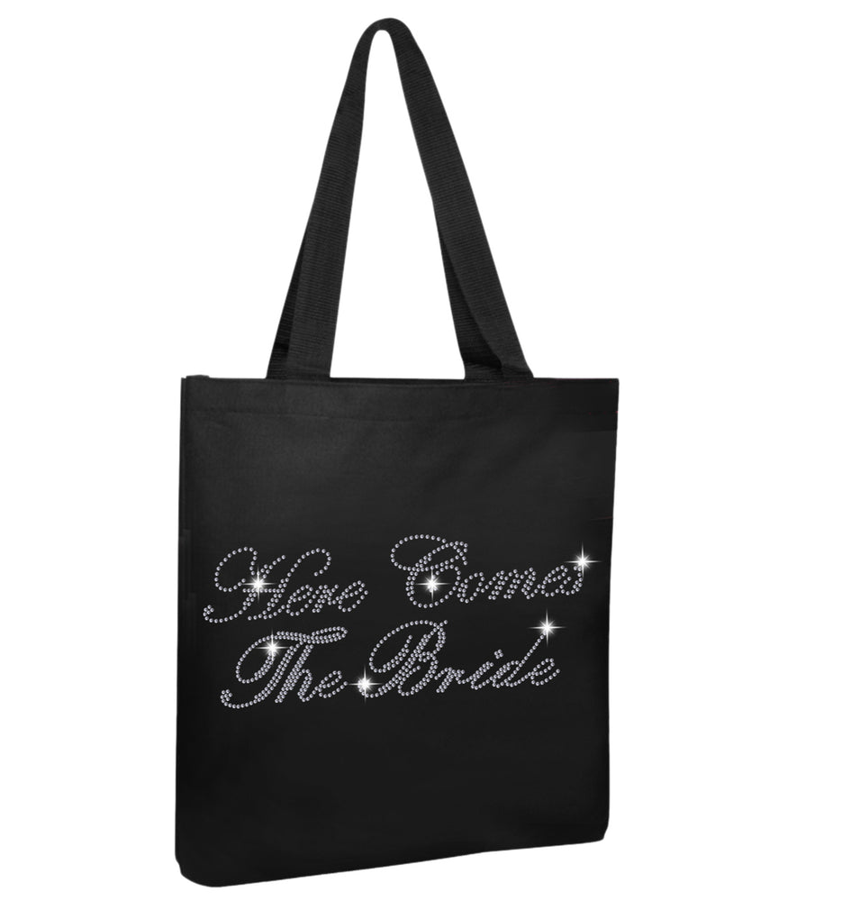 Crystals Here Comes Bride Wedding Tote Bag - varsanystore