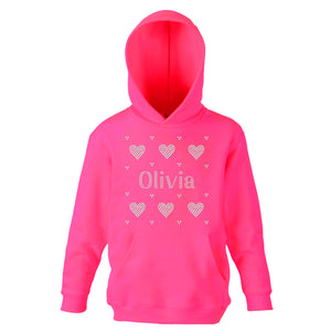 Personalised Girls Hearts Diamante Hoodie - varsanystore