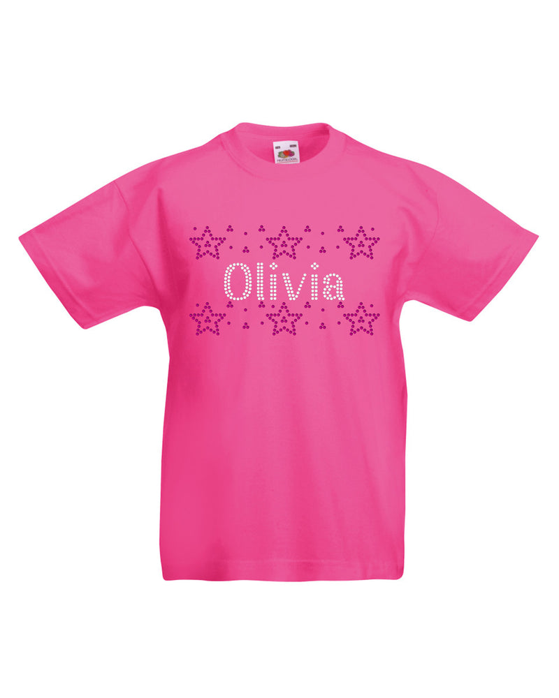 Personalised Girls Stars Summer T-Shirt - varsanystore