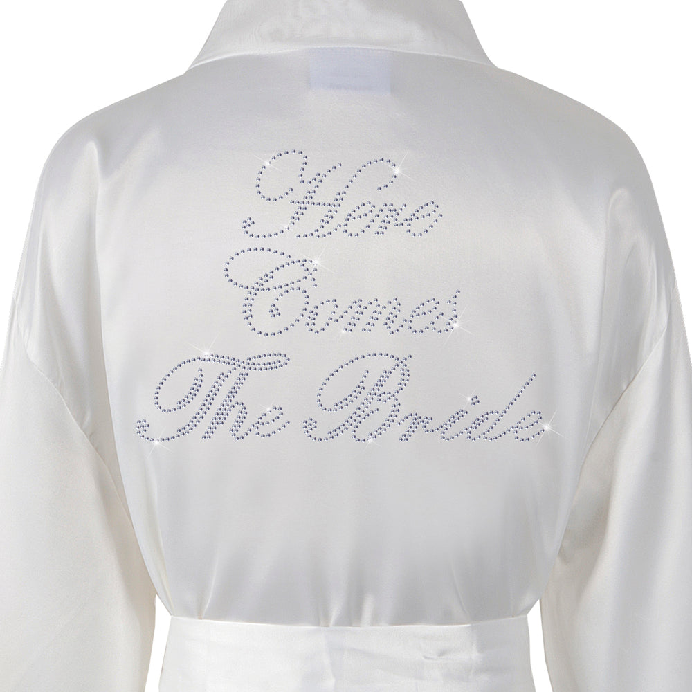 Here Comes Bride Satin Dressing Gown / Bathrobe - varsanystore
