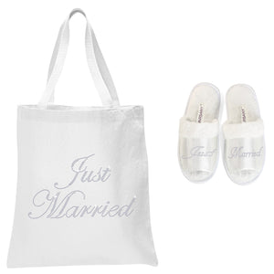 White Just Married Tote Bag and OT Slippers Spa Set - varsanystore
