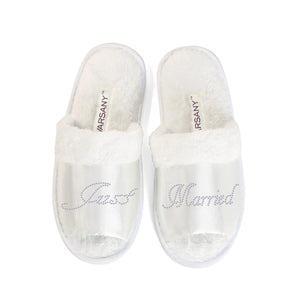 Just Married Party Spa Open Toe Slippers - varsanystore