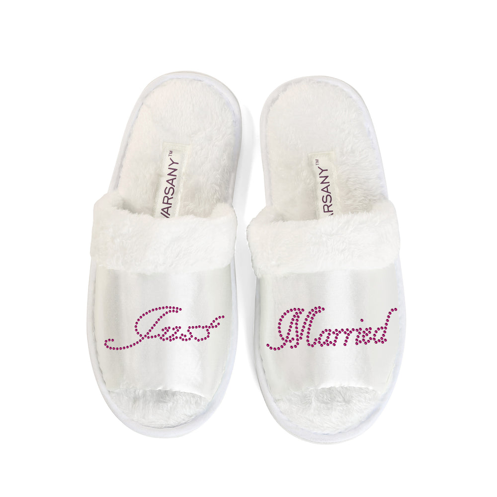 Crystals Just Married Party Spa OT Slippers - varsanystore