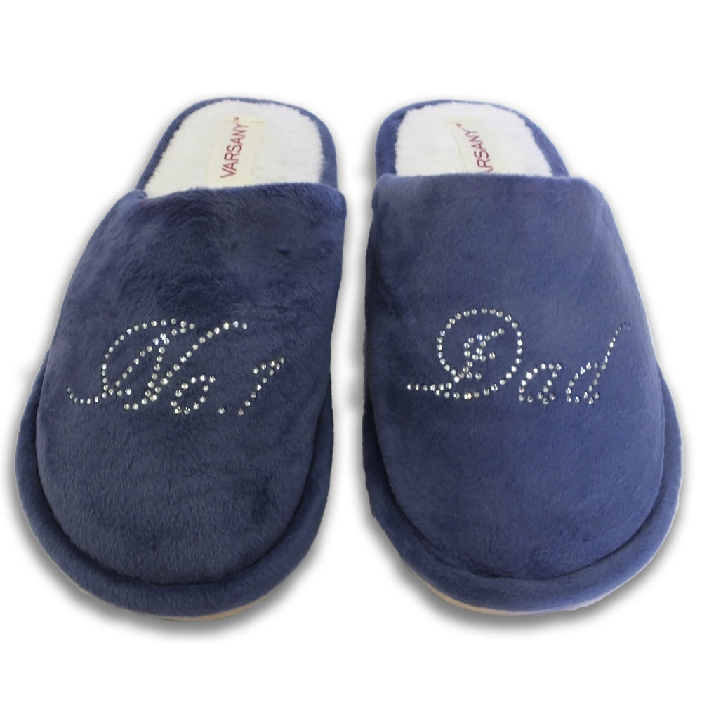 Varsany Navy Crystal No.1 Dad Best House Slippers Father's Day Christmas or Birthday present gift - varsanystore