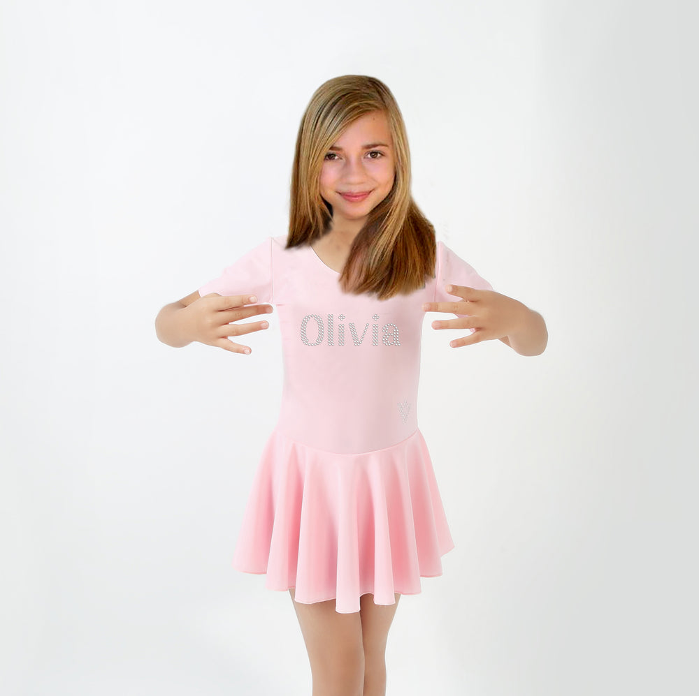 Personalised Girls Pink Ballet Leotard Skirt - varsanystore