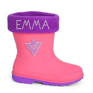 Personalised Girls Crystals Wellington Boots - Varsany