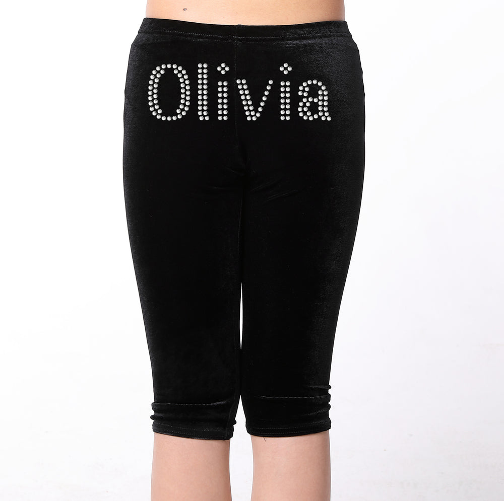 Black Personalised Gymnastic Leggings with Diamante's - varsanystore