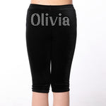 Personalised Girls Black Diamante Leggings - varsanystore