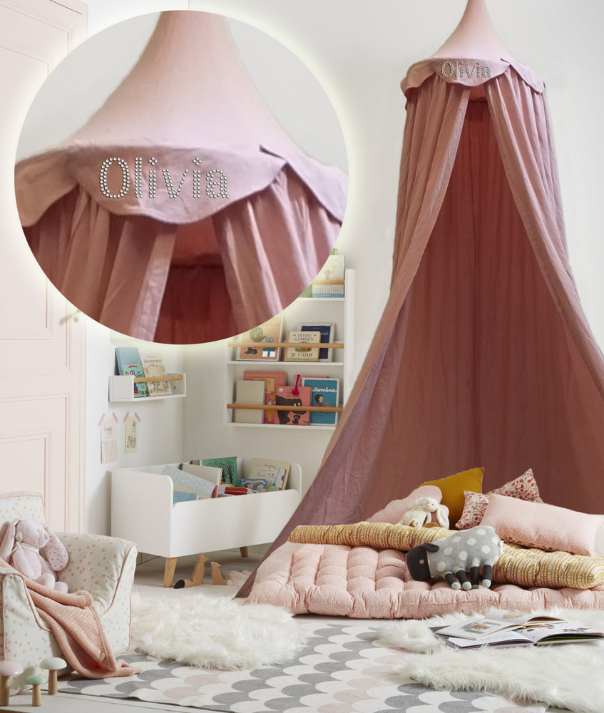 Personalised Children Bed Canopy Round Dome, Girls Nursery Decorations, Cotton Mosquito Net, Kids Princess Play Tents, Teepee Room Decoration for Baby (Pink) - varsanystore