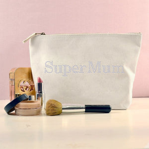 Personalised Crystals Super Mum Make-Up Bag - varsanystore