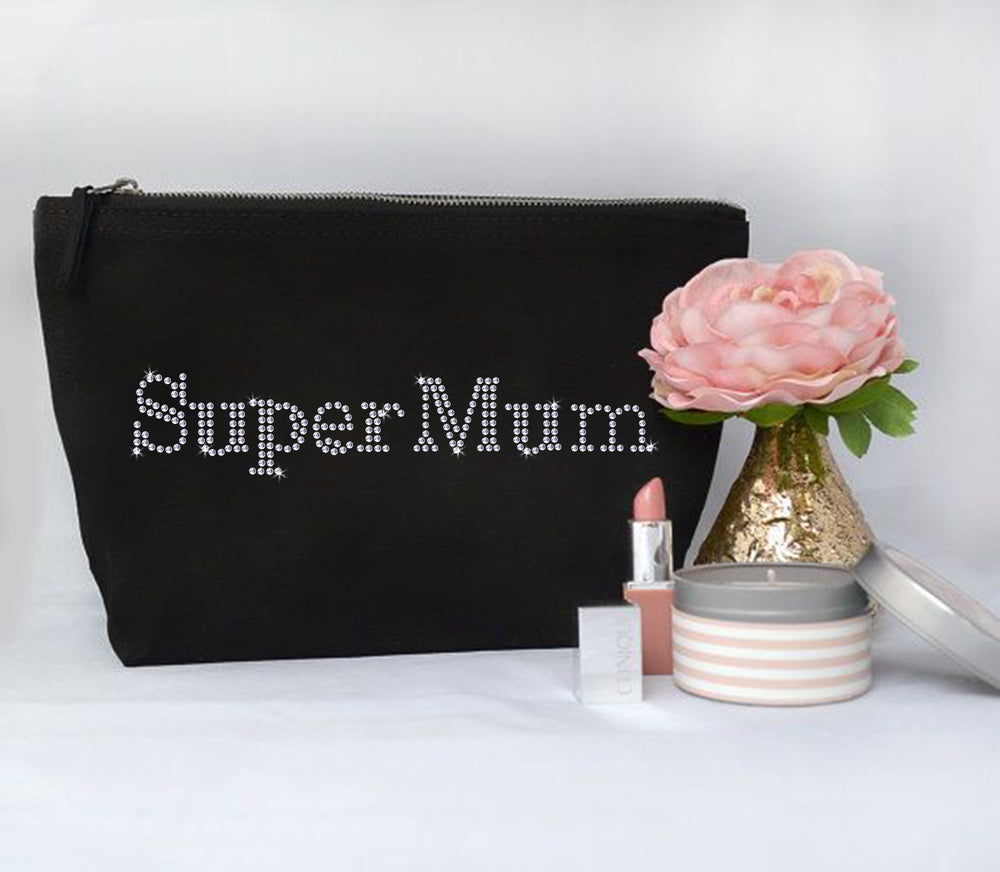 Super Mum Mothers Day Personalised Crystal Makeup Bag - varsanystore