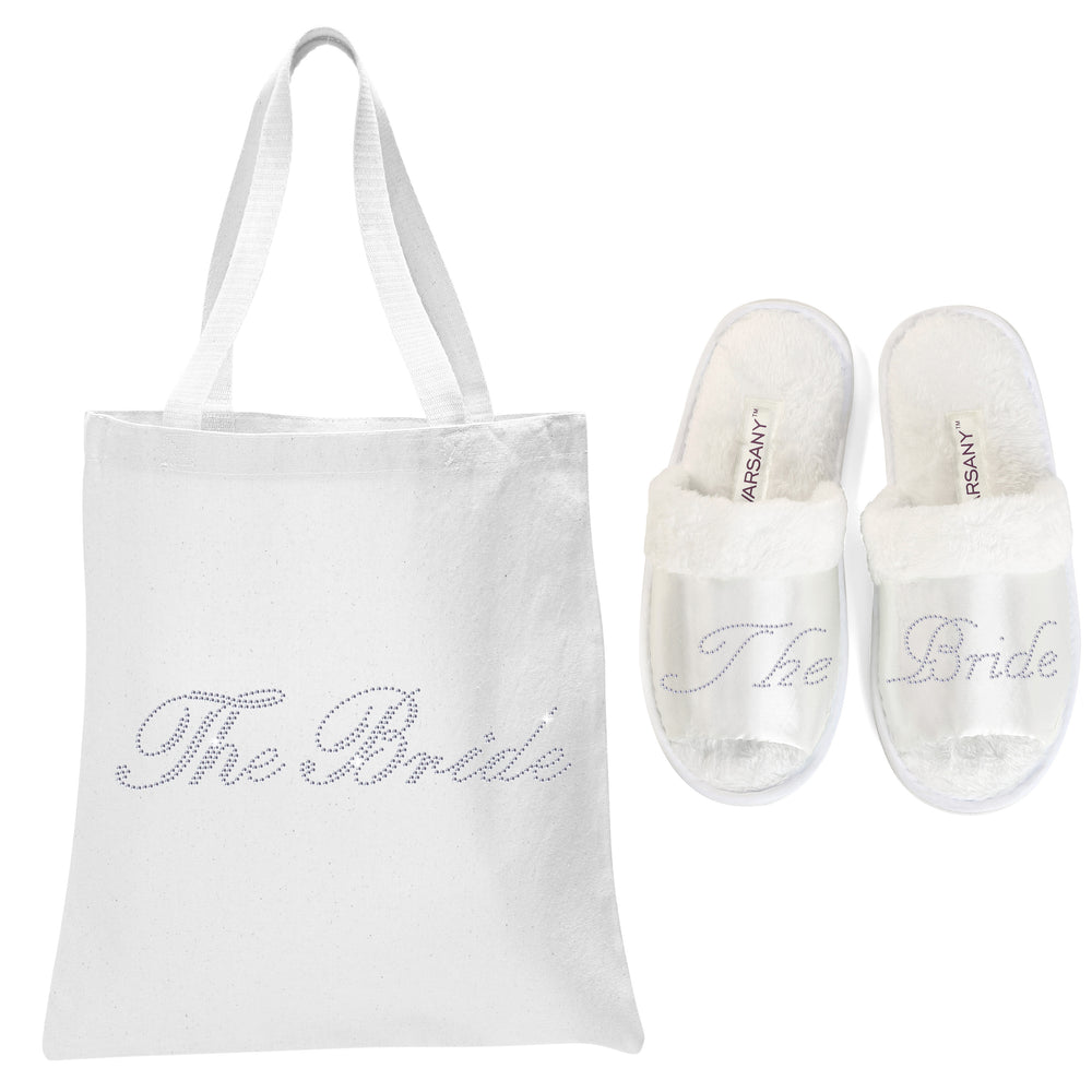 White The Bride Tote Bag and OT Slippers Spa Set - varsanystore