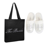 Varsany Black The Bride Crystal (OT) Open Toe Spa Slippers and Tote bags wedding bride gift hen party (2) - varsanystore